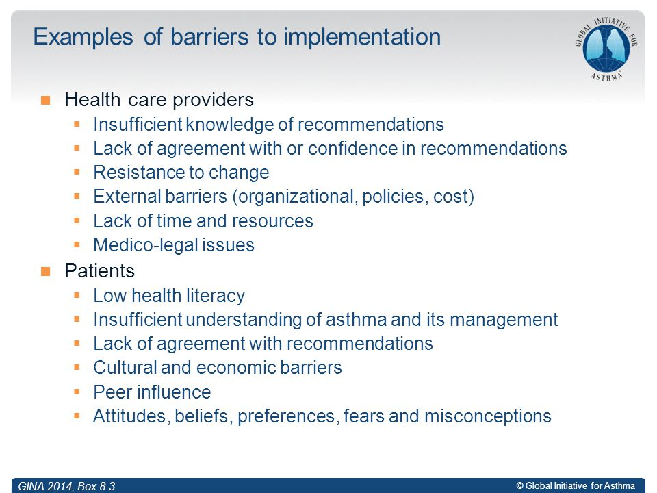 Examples of barriers to implementation