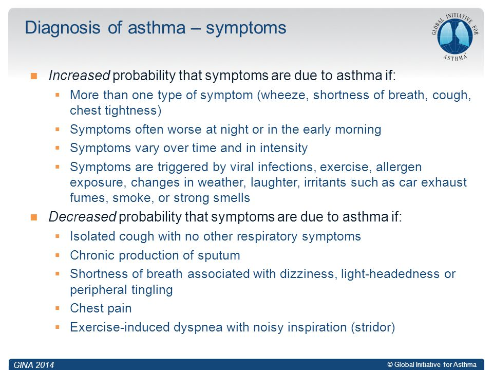 Diagnosis of asthma – symptoms