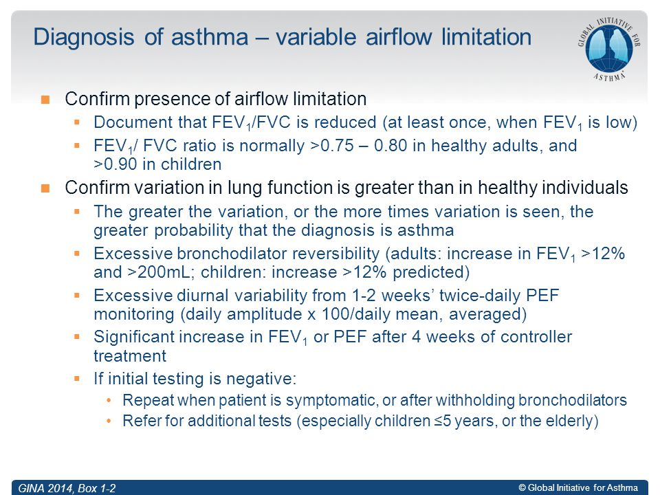 Diagnosis of asthma – variable airflow limitation