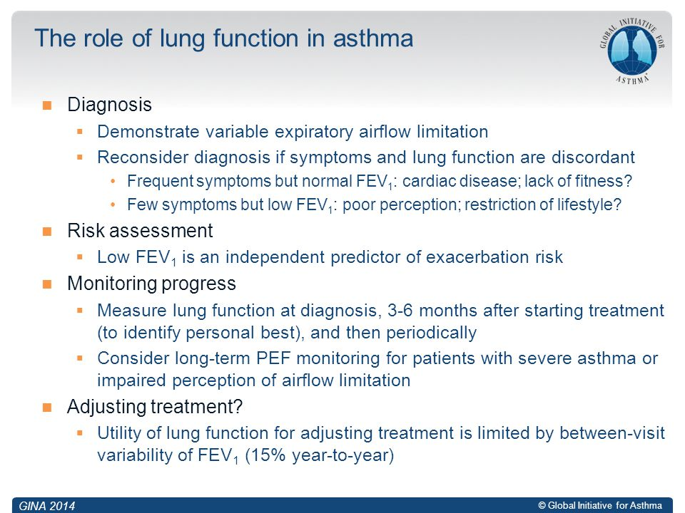 The role of lung function in asthma