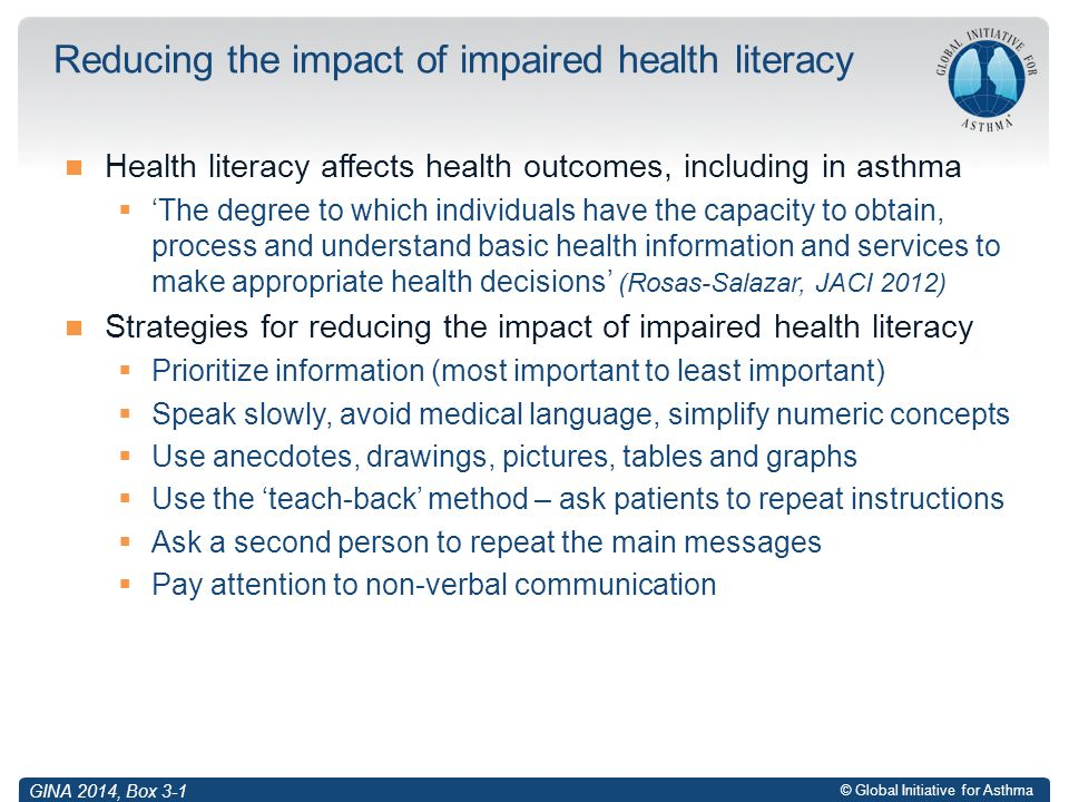 Reducing the impact of impaired health literacy
