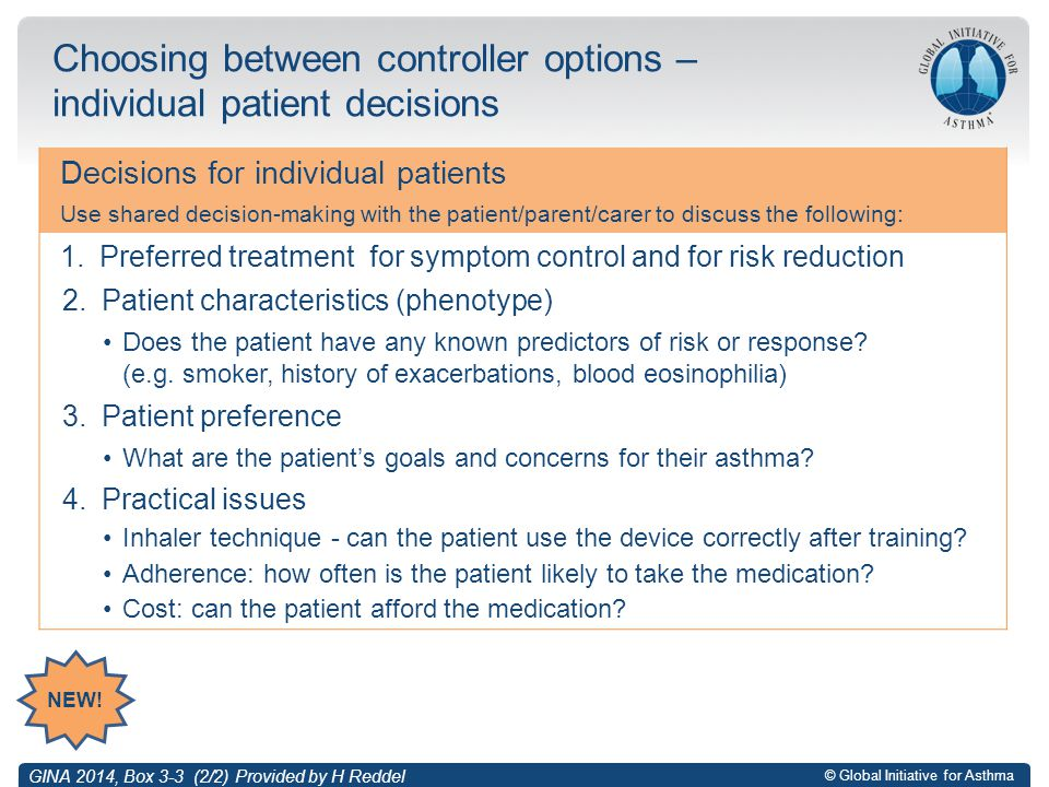 Choosing between controller options – individual patient decisions