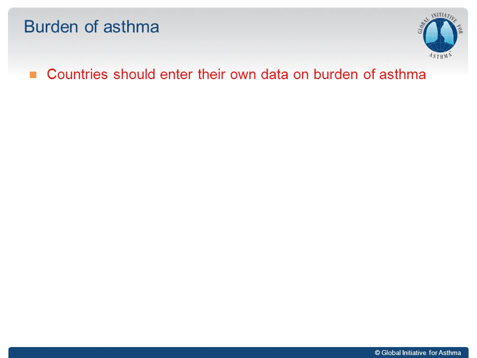 Burden of asthma Countries should enter their own data on burden of asthma