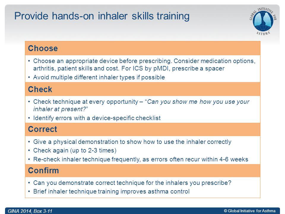 Provide hands-on inhaler skills training