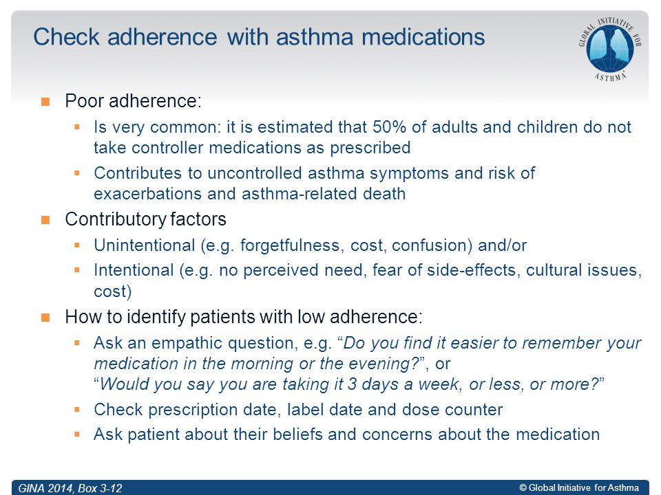 Check adherence with asthma medications
