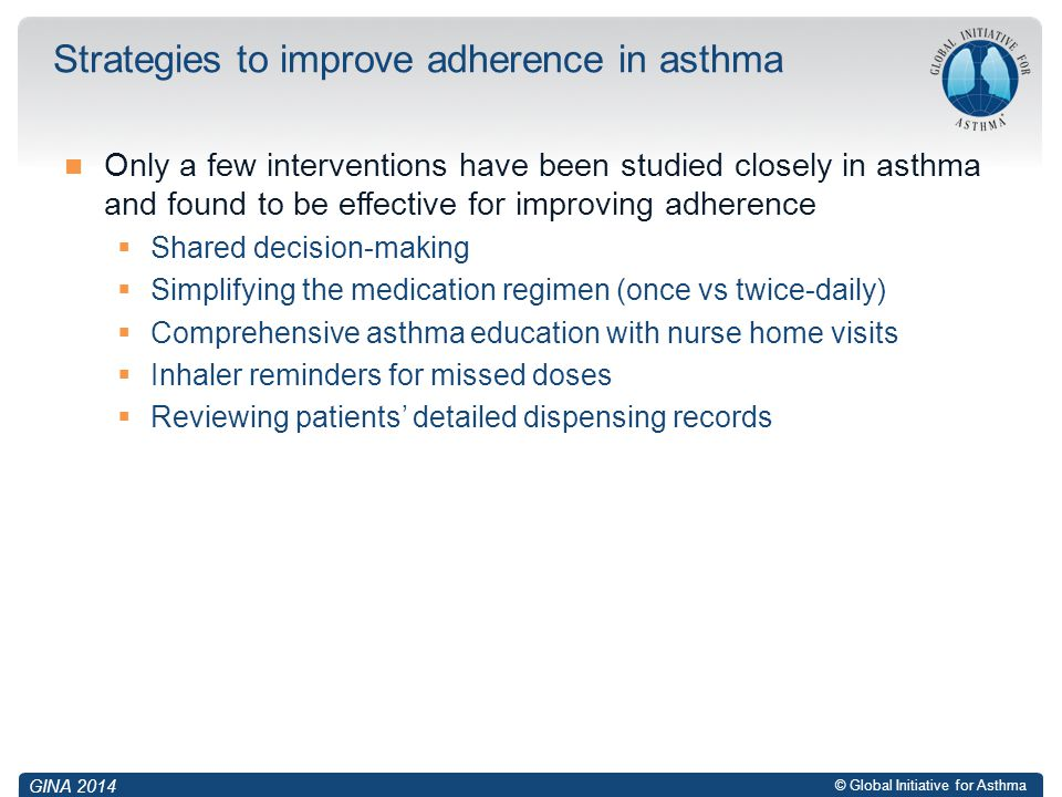 Strategies to improve adherence in asthma