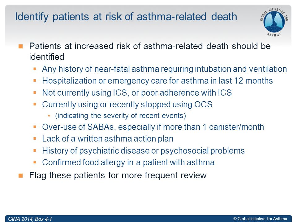 Identify patients at risk of asthma-related death