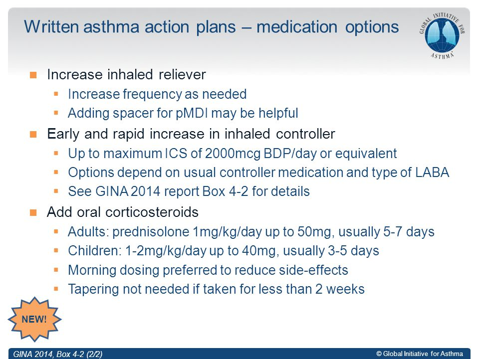 Written asthma action plans – medication options