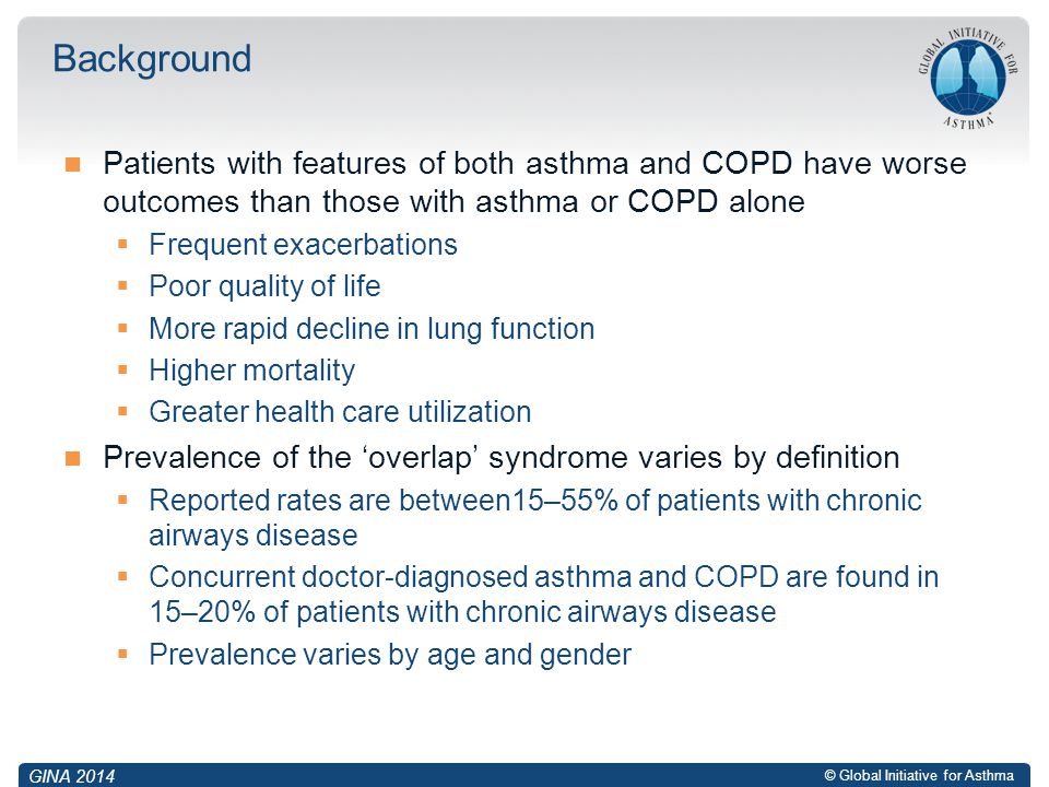 Background Patients with features of both asthma and COPD have worse outcomes than those with asthma or COPD alone.