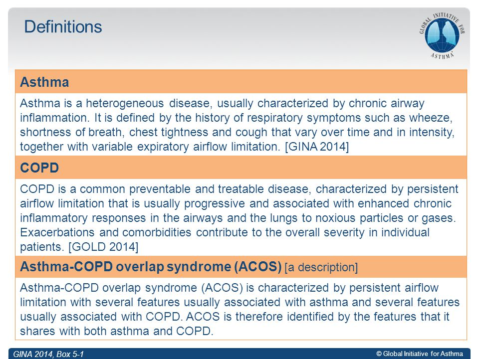 Definitions Asthma COPD Asthma Asthma COPD