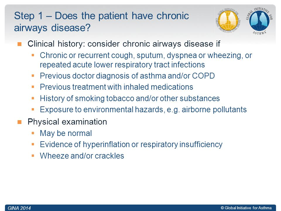 Step 1 – Does the patient have chronic airways disease