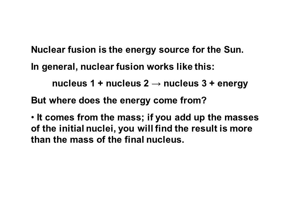 nucleus 1 + nucleus 2 → nucleus 3 + energy