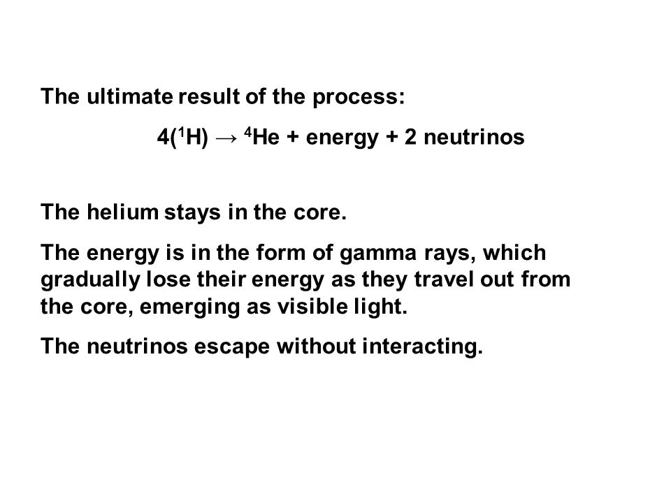 4(1H) → 4He + energy + 2 neutrinos