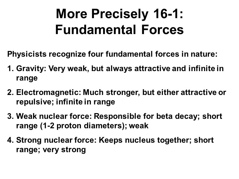 More Precisely 16-1: Fundamental Forces