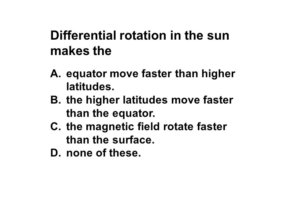 Differential rotation in the sun makes the