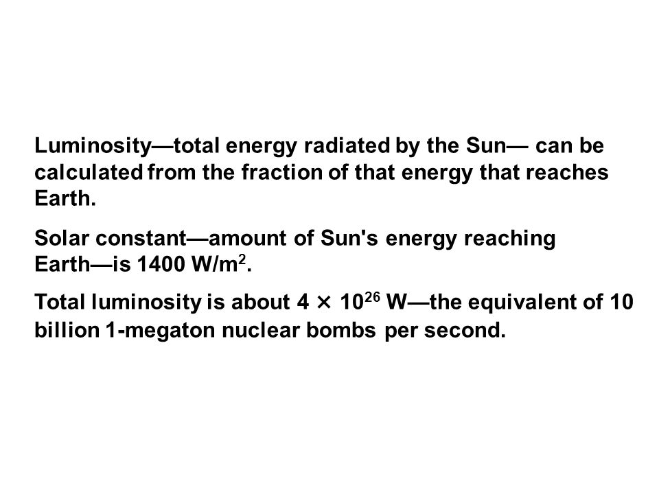 Luminosity—total energy radiated by the Sun— can be calculated from the fraction of that energy that reaches Earth.