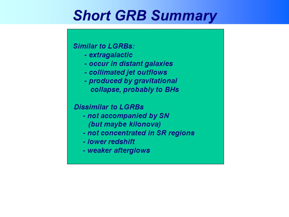 Short GRB Summary - extragalactic - occur in distant galaxies
