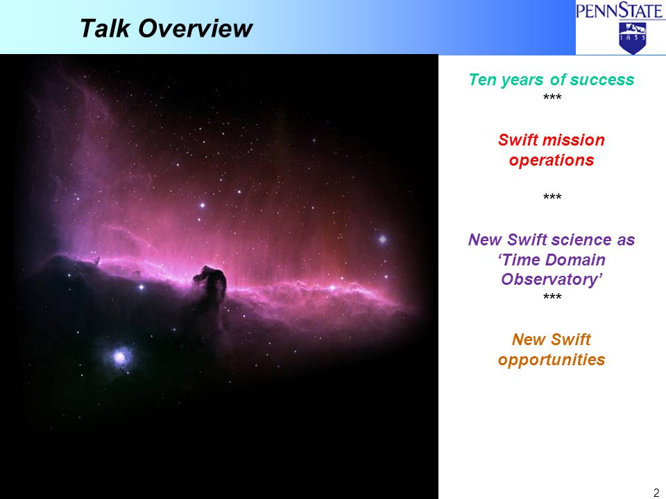Talk Overview Ten years of success *** Swift mission operations