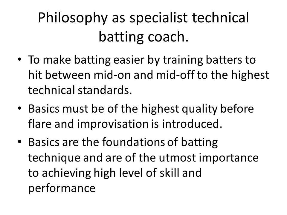 Philosophy as specialist technical batting coach.