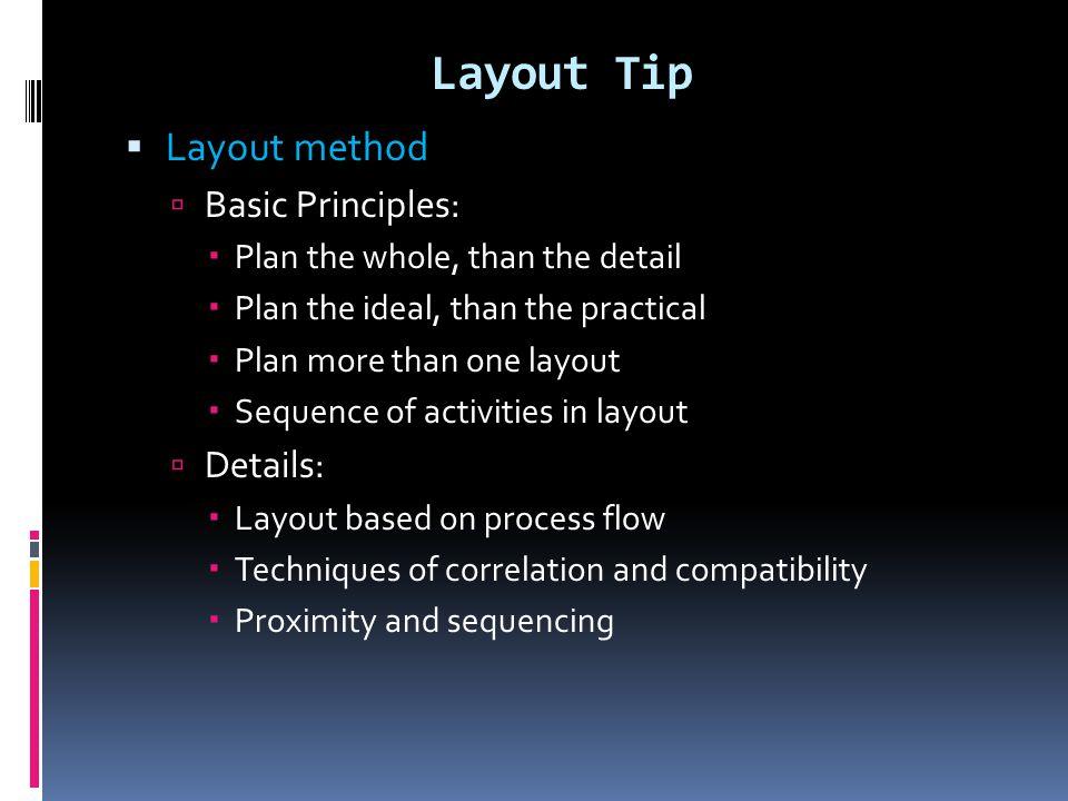 Layout Tip Layout method Basic Principles: Details: