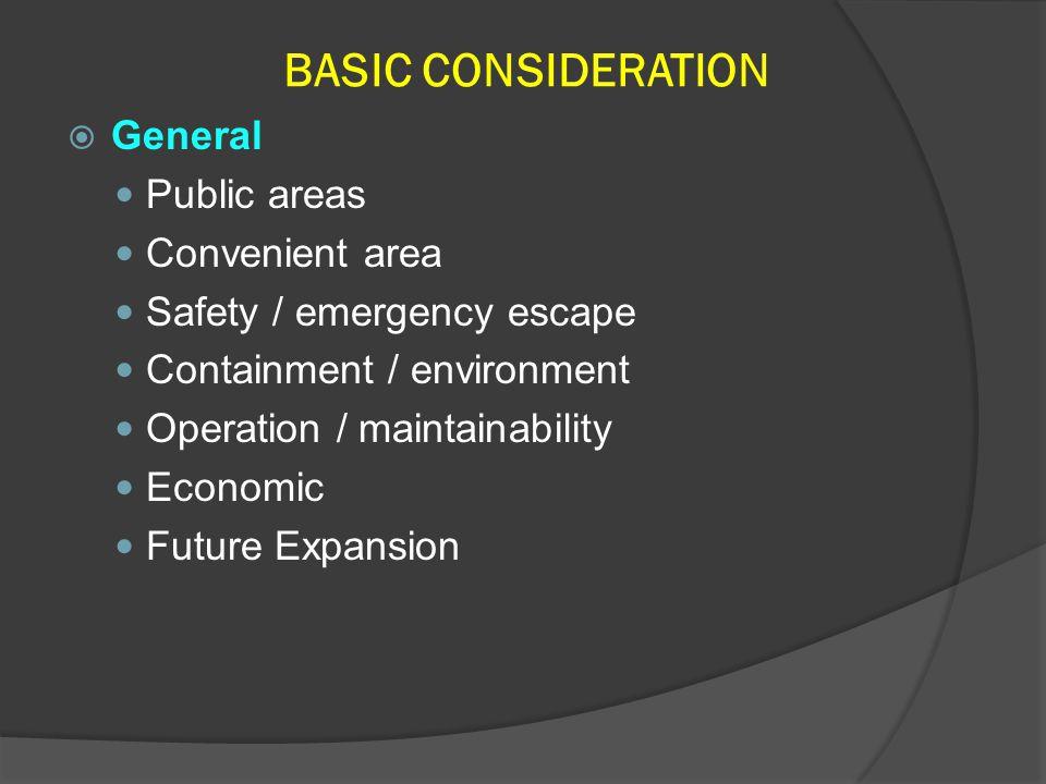 BASIC CONSIDERATION General Public areas Convenient area