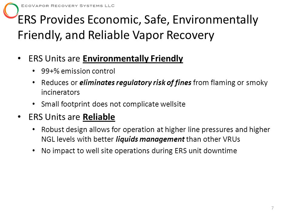ERS Provides Economic, Safe, Environmentally Friendly, and Reliable Vapor Recovery