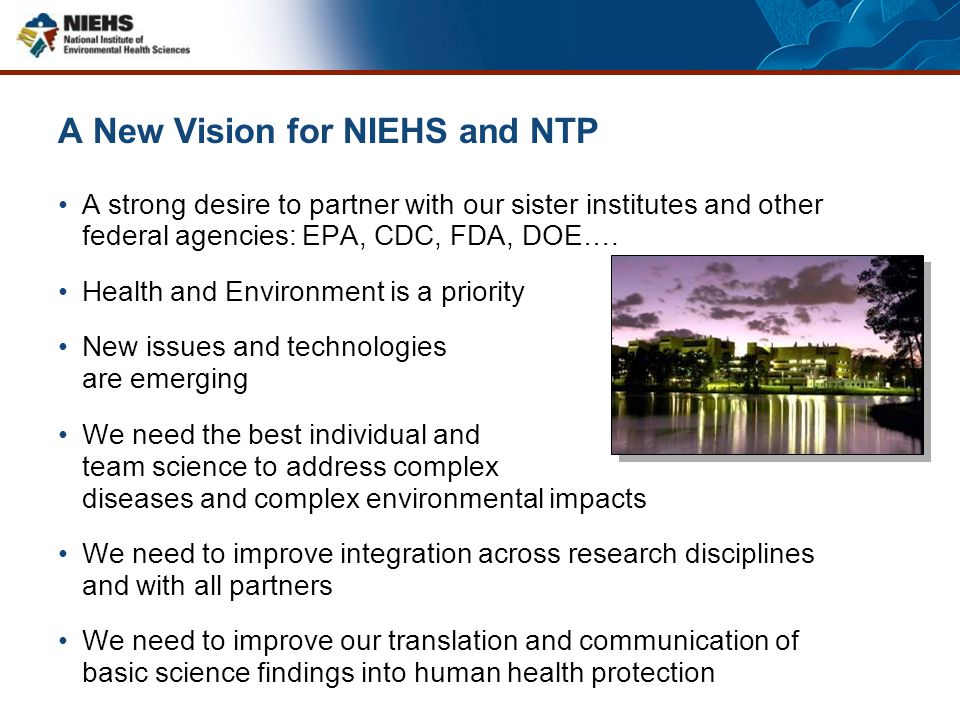A New Vision for NIEHS and NTP