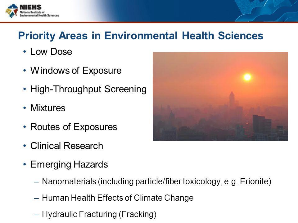 Priority Areas in Environmental Health Sciences