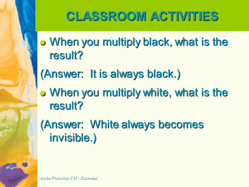 CLASSROOM ACTIVITIES When you multiply black, what is the result