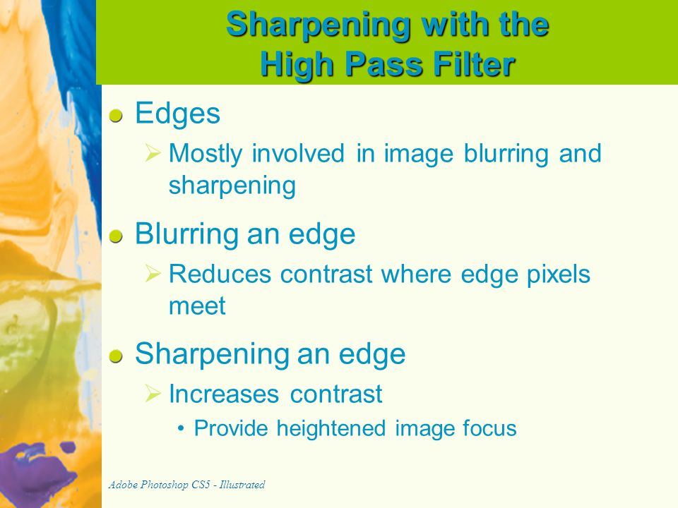 Sharpening with the High Pass Filter
