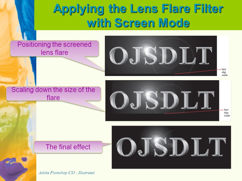 Applying the Lens Flare Filter with Screen Mode