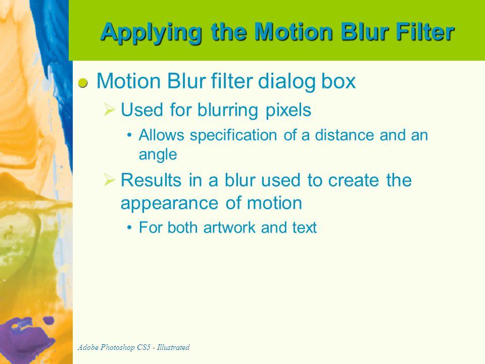 Applying the Motion Blur Filter