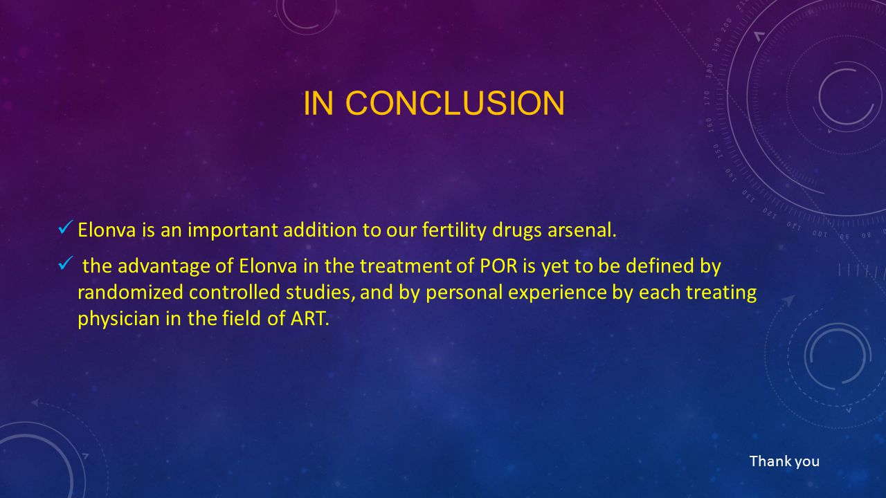 In conclusion Elonva is an important addition to our fertility drugs arsenal.