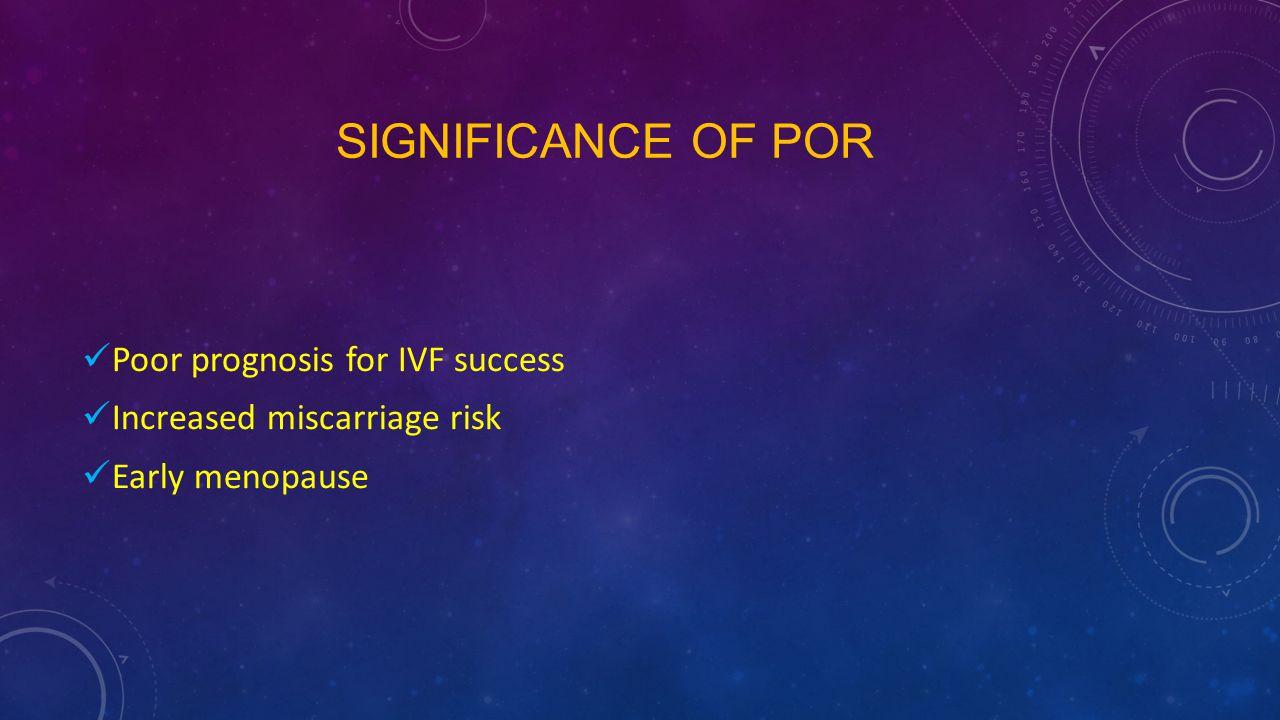 Significance of POR Poor prognosis for IVF success
