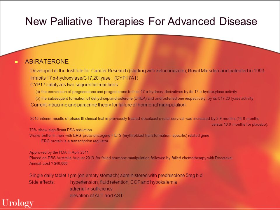 New Palliative Therapies For Advanced Disease