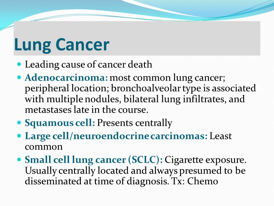 Lung Cancer Leading cause of cancer death