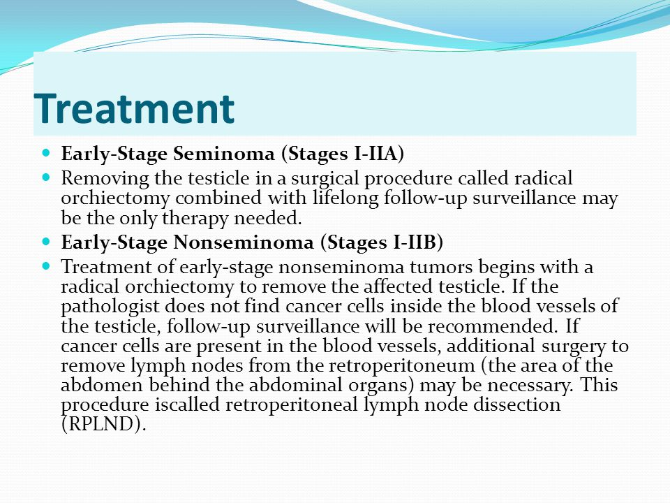 Treatment Early-Stage Seminoma (Stages I-IIA)