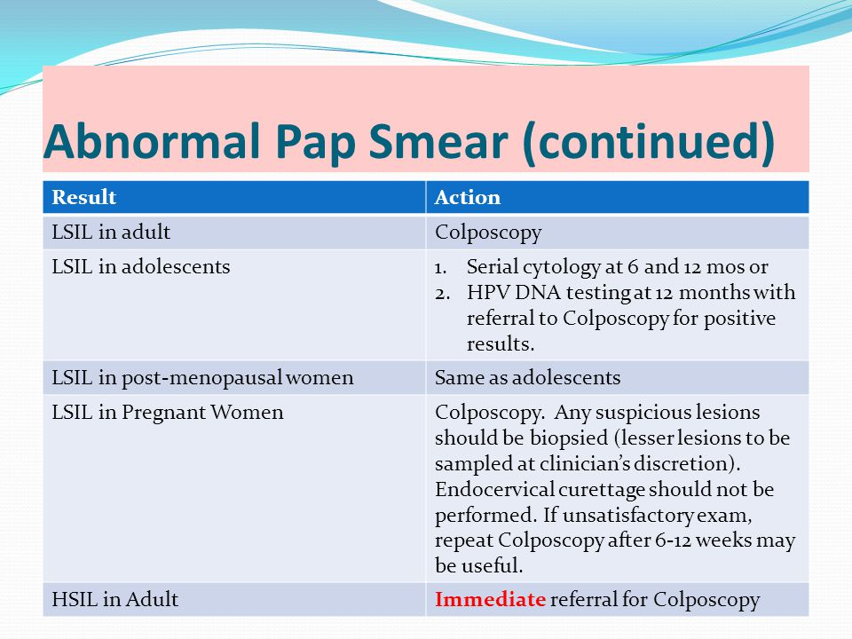 Abnormal Pap Smear (continued)