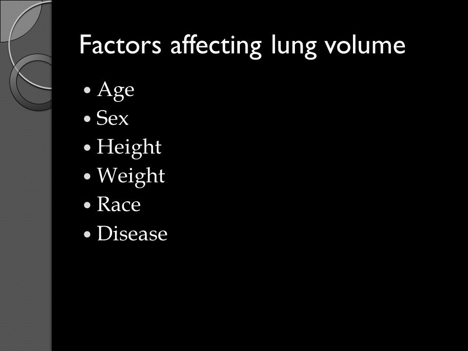 Factors affecting lung volume