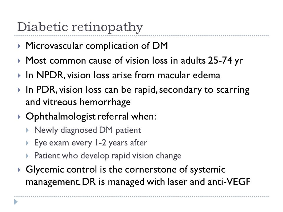 Diabetic retinopathy Microvascular complication of DM