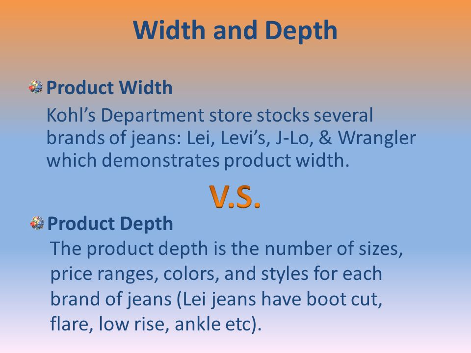 V.S. Width and Depth Product Width