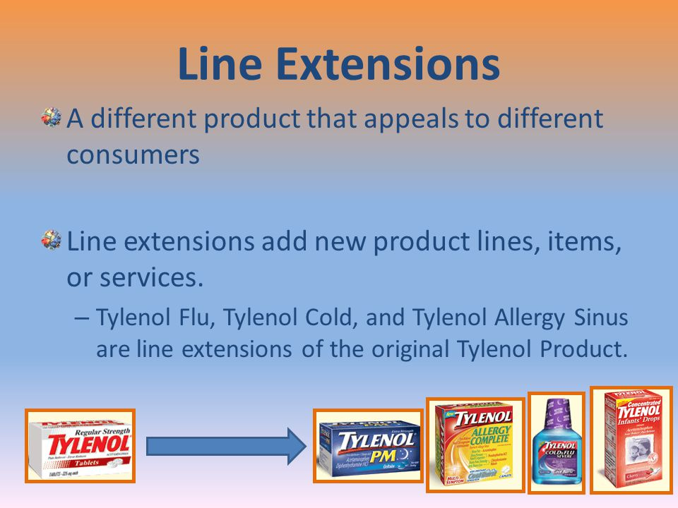 Line Extensions A different product that appeals to different consumers. Line extensions add new product lines, items, or services.