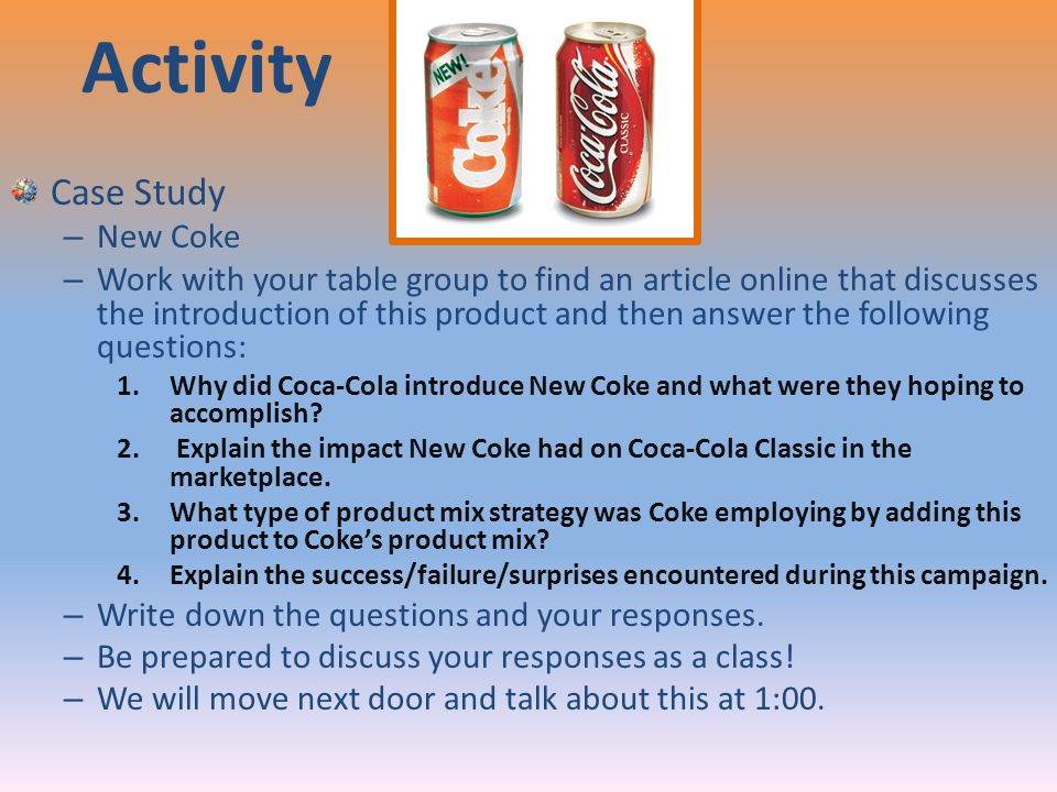 "hbr case introducing the new coke Based on ""introducing new coke"" a case study by susan fournier harvard business review introduction in april 1985 the coca-cola company, a company with more than 100 years old at that time, decided to introduce a new version of their most important product: coke."