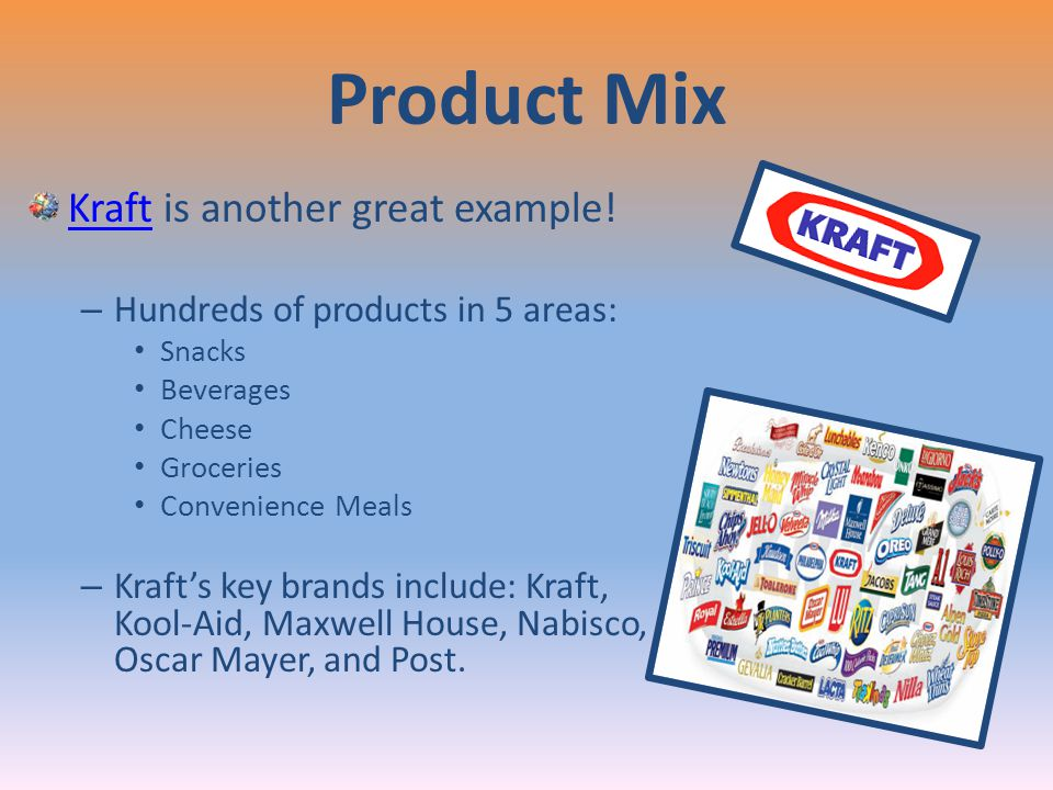 Product Mix Kraft is another great example!