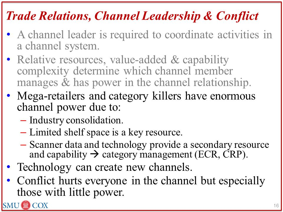 Trade Relations, Channel Leadership & Conflict