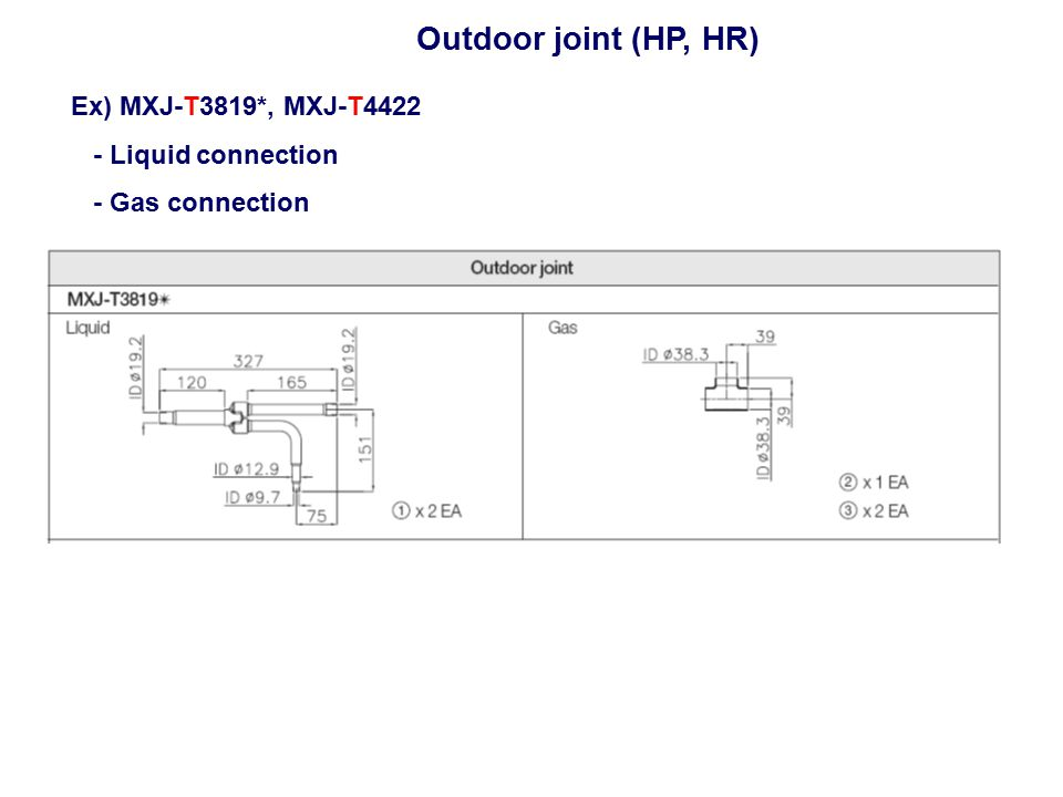 Outdoor joint (HP, HR) Ex) MXJ-T3819*, MXJ-T4422 - Liquid connection