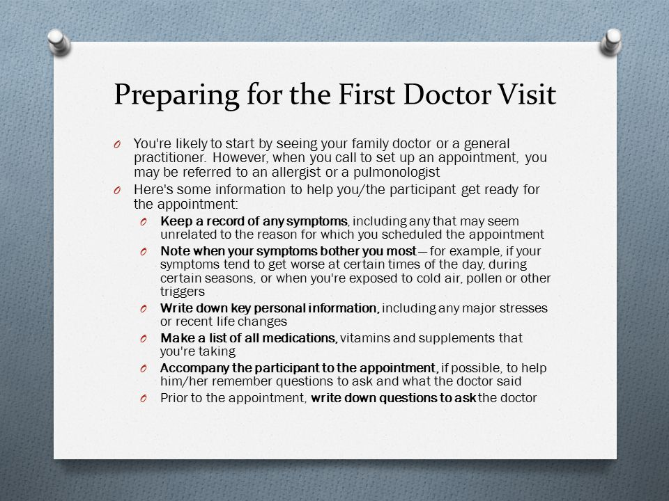 Preparing for the First Doctor Visit