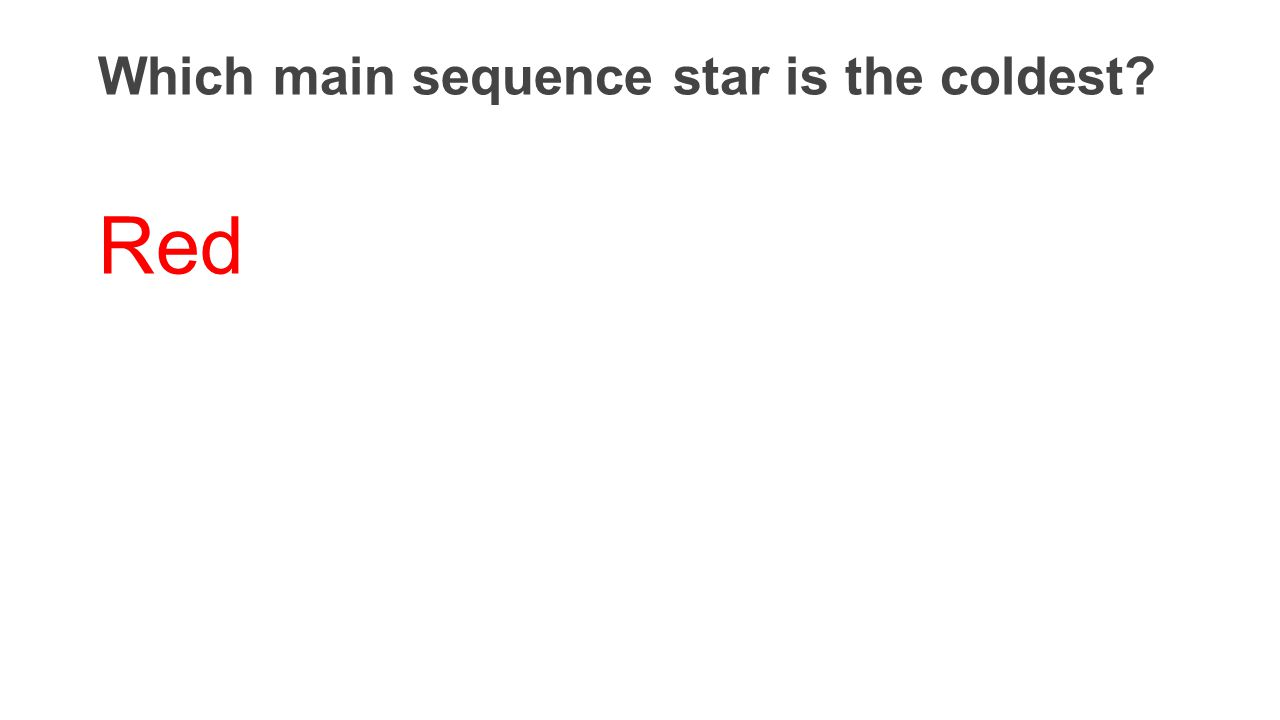 Which main sequence star is the coldest