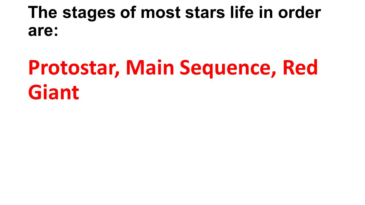 The stages of most stars life in order are: