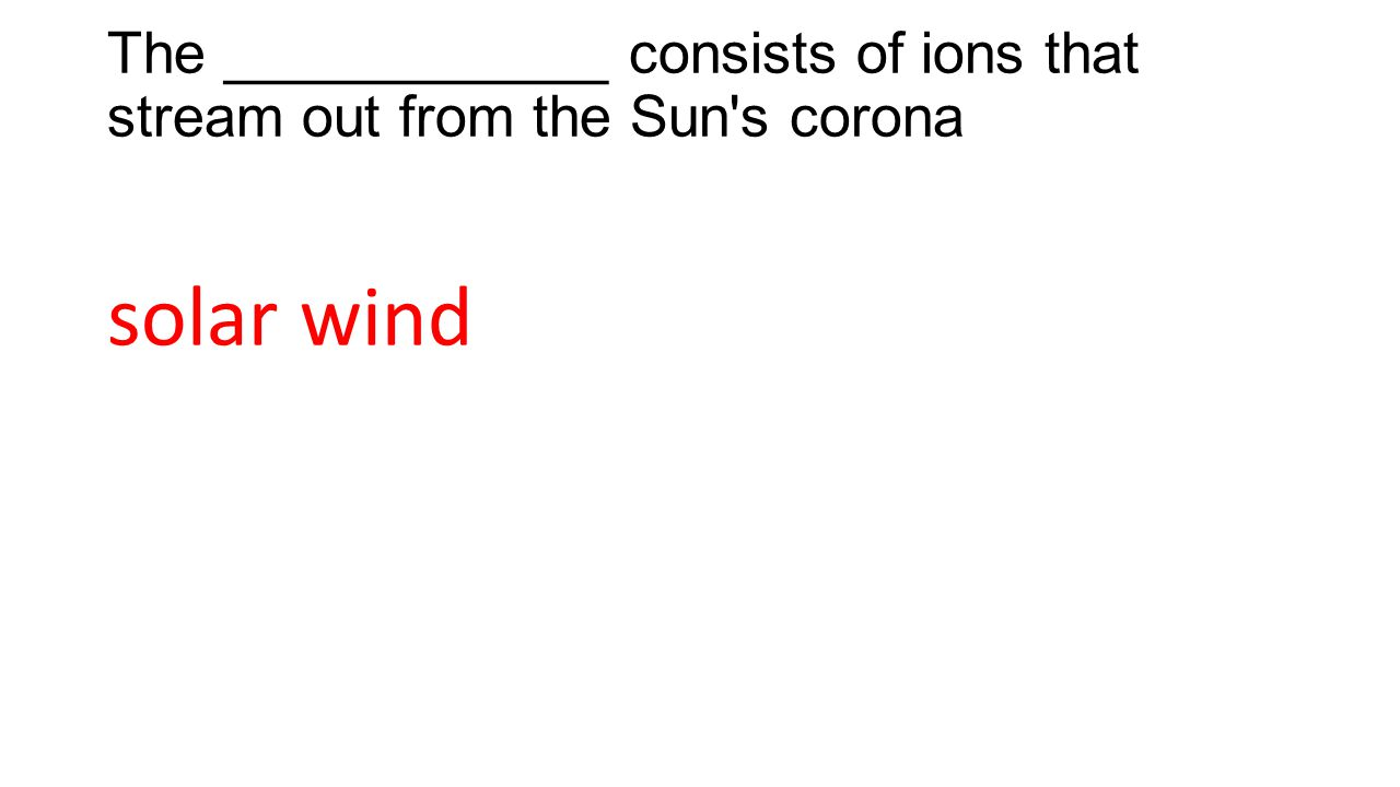 The ____________ consists of ions that stream out from the Sun s corona